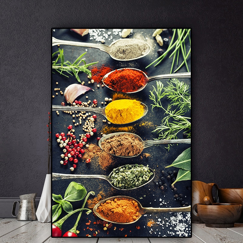 Modern Kitchen Mix Herb And Spices Oil Painting on Canvas Posters and Prints Cuadros Wall Art Pictures For Restaurant Dinning