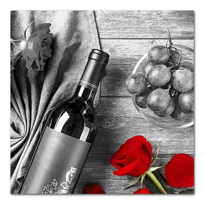 Romantic Kitchen Painting Red Wine Rose Coffee Black and White Canvas Prints & Posters Wall Art Picture for Dinning Living Room