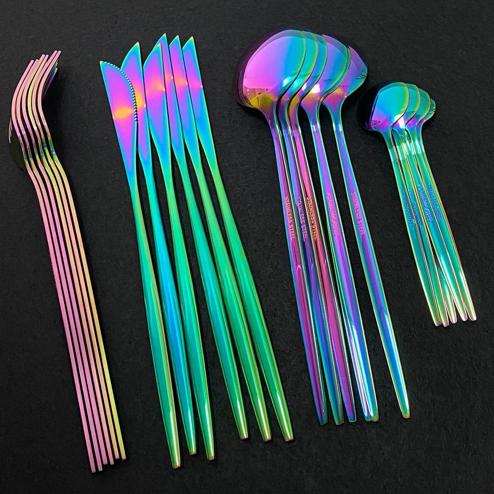 24Pcs Colorful Dinnerware Set Stainless Steel Cutlery Set Kitchen Mirror Gold Tableware Set Knife Fork Spoon Dinner Set