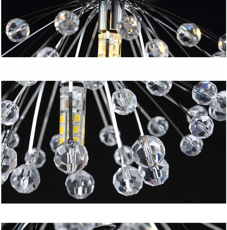 LukLoy Creative Dandelion Stainless Steel Crystal Aisle Porch Mini Crystal Ceiling Lamp for Living Room Dinning Room Kitchen