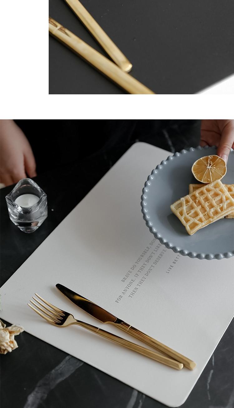 Soffe Soft Leather Dinner Table Mat 30*43cm Golden Word Design Luxury Style Waterproof Heat-Insulation Kitchen Dinning Mats
