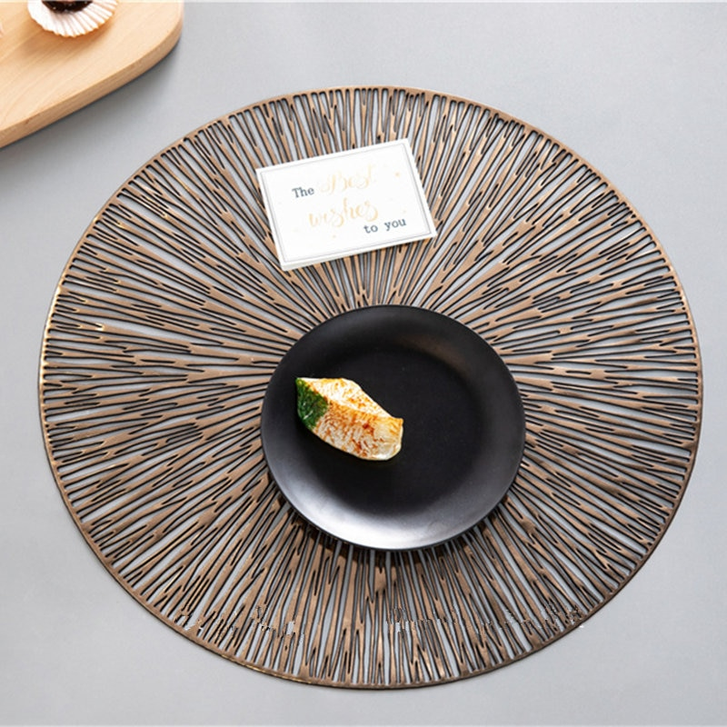 6pcs/set PVC Placemats Round Hollow Table Mat For Kitchen Dinning Table Mat Insulation Pads Drink Coffee Cup Coasters Plate Pad