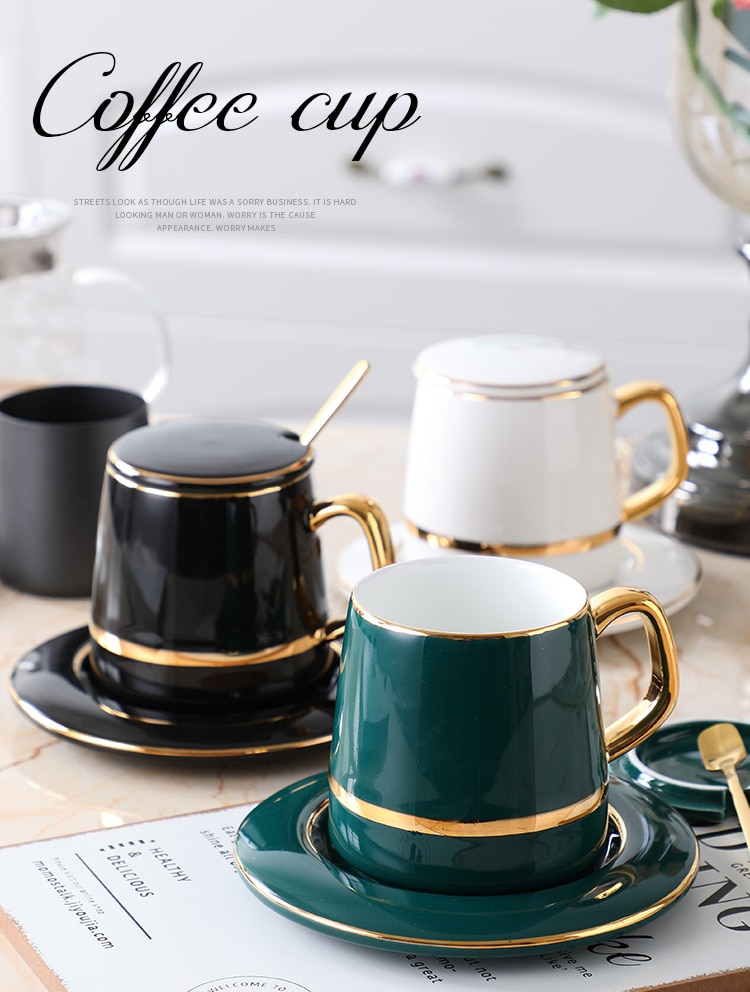Set of 3 Ceramic Coffee Mug with Tray and Spoon Tea Milk Cup Water Drinkware Present for Family Friend Kitchen Dinning Bar