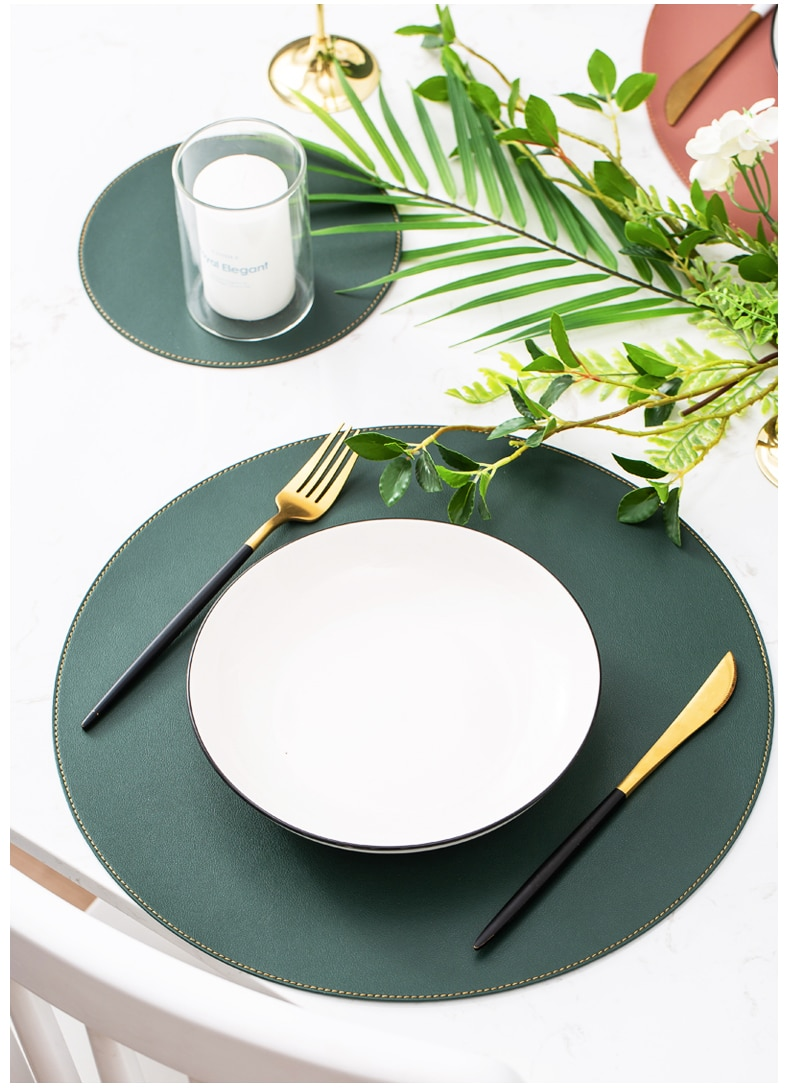 3PCS Round Placemats Coasters Set Faux Large PU Wipable Washable Non Slip Table Mat Hot Pad For Home and Kitchen Dinning Decor