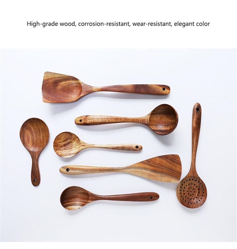 1-7pcs/set  Teak natural wood tableware spoon colander spoon special nano soup skimmer cooking spoon wooden kitchen tool kit
