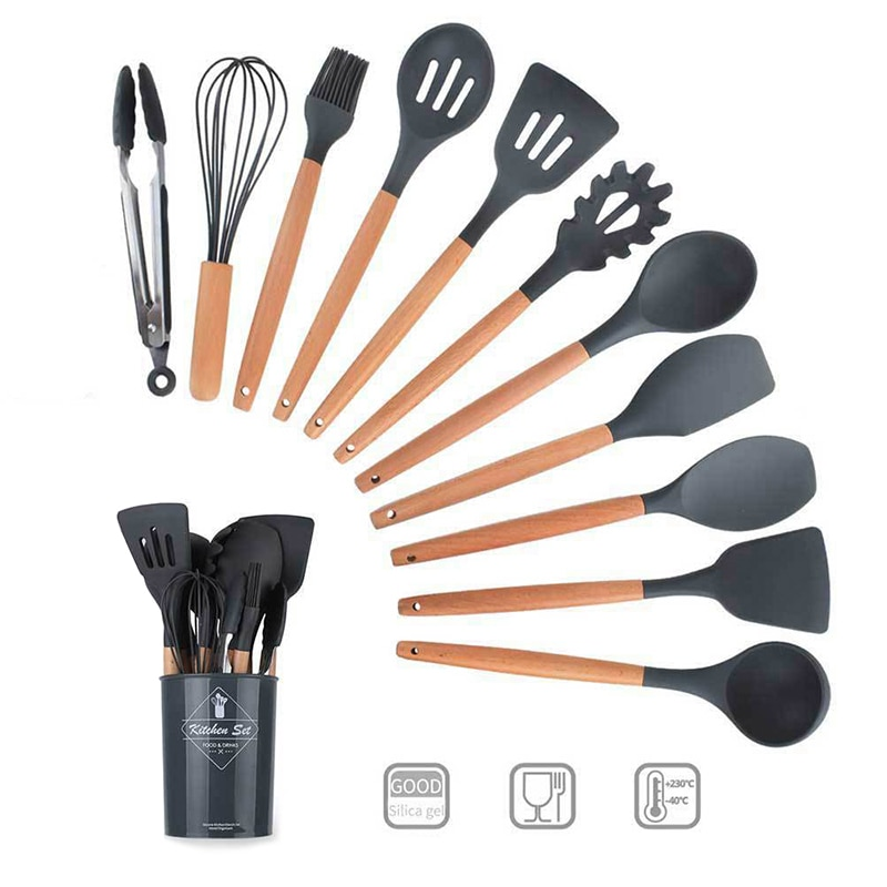 TUUTH Silicone Kitchenware Cooking Utensils Tool Sets Heat Resistant Spatula Ladle Egg Beaters Shovel Spoon Soup Kitchen Helper