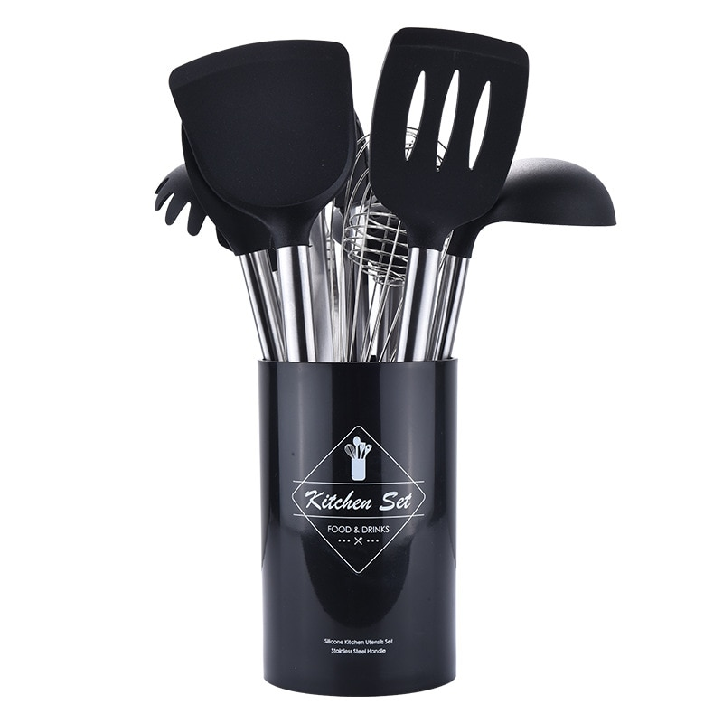 Stainless Steel+Silicone Cooking Utensil Kitchen Tools Turner Soup Spoon Strainer Pasta Server Egg Beater Spatula Food Tongs Red