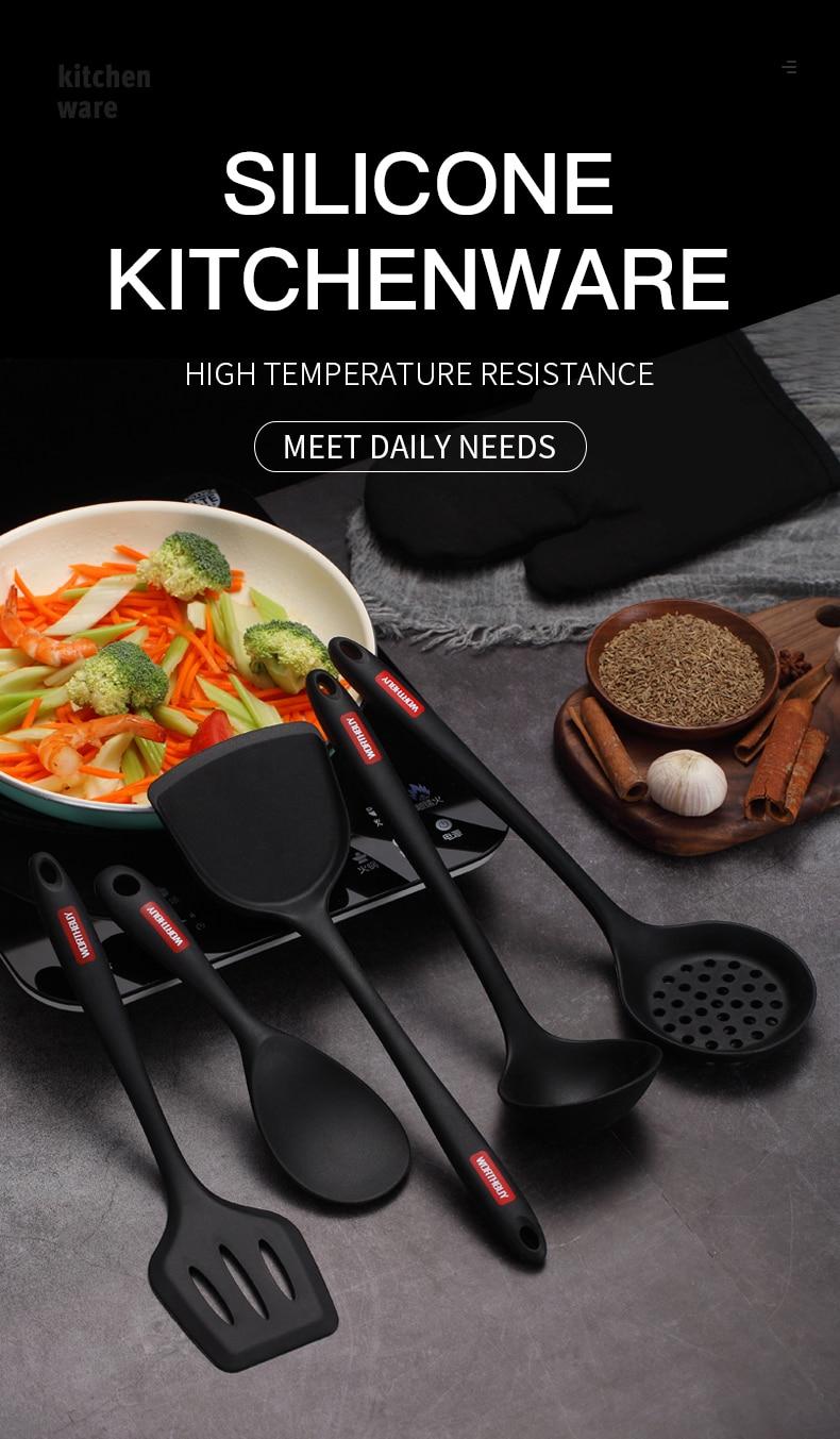 WORTHBUY Food Grade Silicone Utensils Set Non-Stick Kitchen Cooking Tools Set Heat-Resistant Spatula Shovel Turner Kitchenware