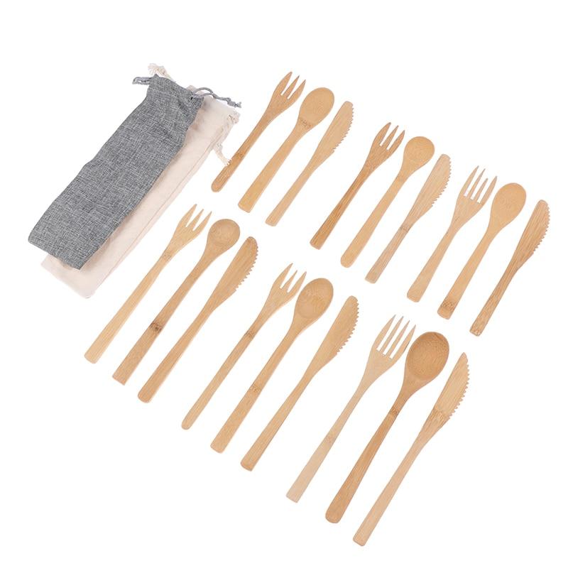 Wood Bamboo Wooden Cutlery Set Fork Cutter Cutting Reusable Kitchen Tool