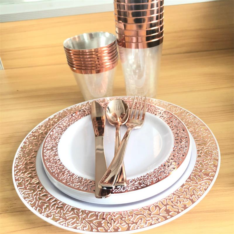 25pcs Disposable Rose Gold Plastic Dishes Fork Knives Spoon Lace Design Wedding Party Plates Gold Tableware set  Party Supplies