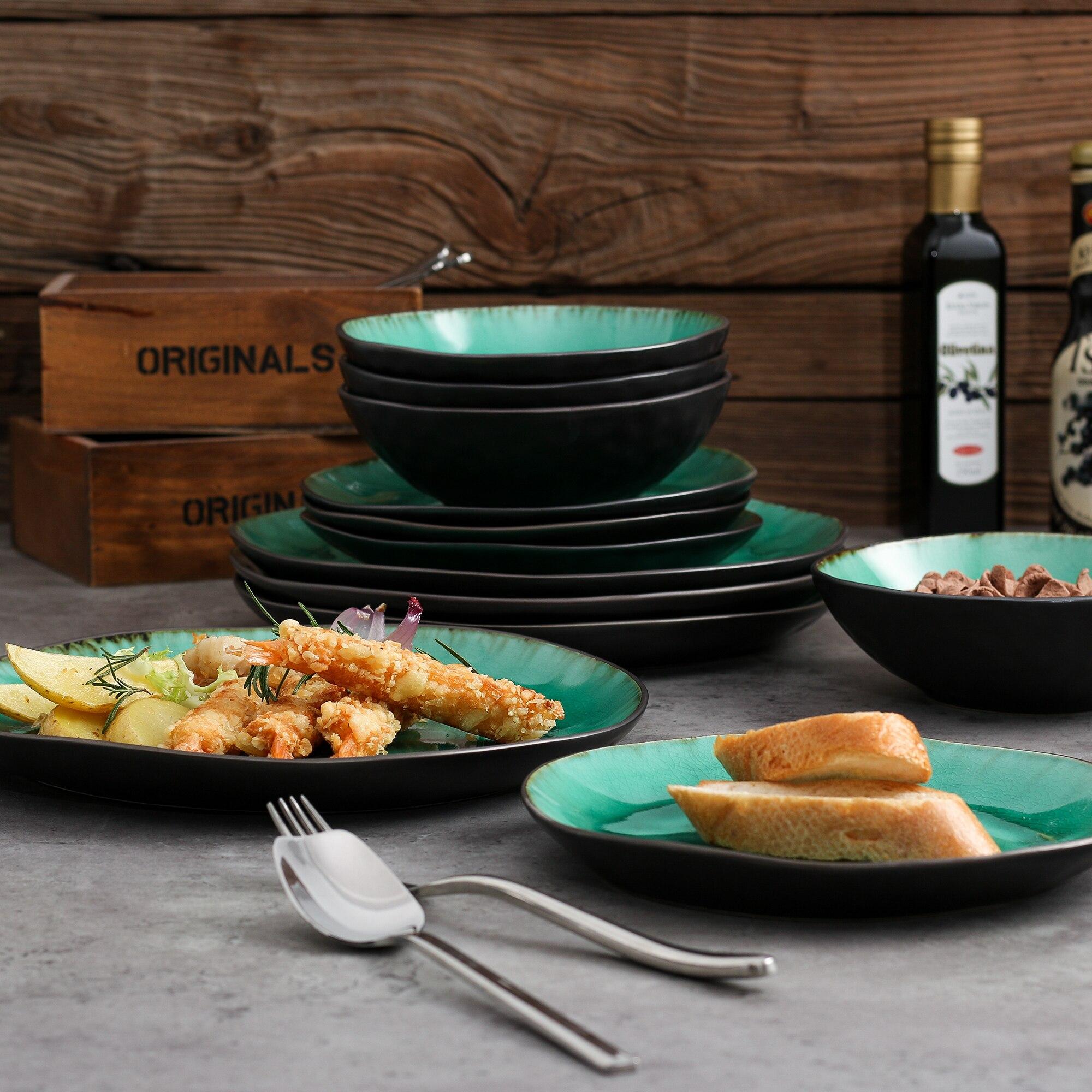 VANCASSO Coco 36-Piece Pottery Stoneware Vintage Look Ceramic Green Dinnerware Set with 12*Dinner Plate,Dessert Plate,Bowl Set