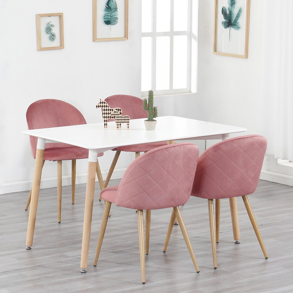 A Set of 4 Dining Chairs Fabric Velvet Kitchen Leisure Chairs Upholstered Seat Stable Metal Legs Kitchen Furniture (Green/Pink)