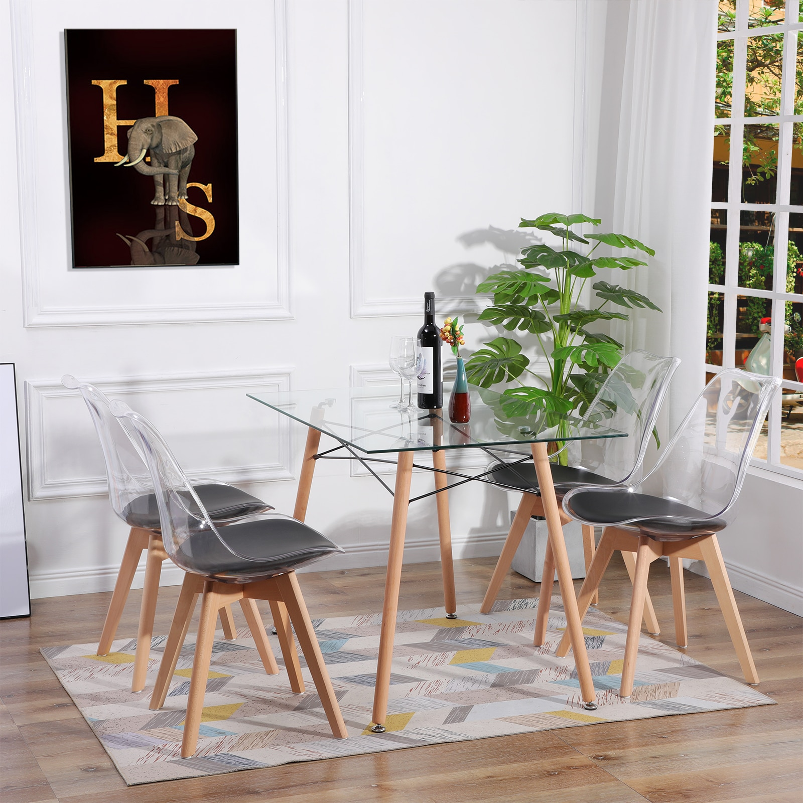 Dining Table Galss Rectangle Modern Scandinavian Legs Solid Wood Grain Finish for Dining Room Kitchen Salon, 110*70*73