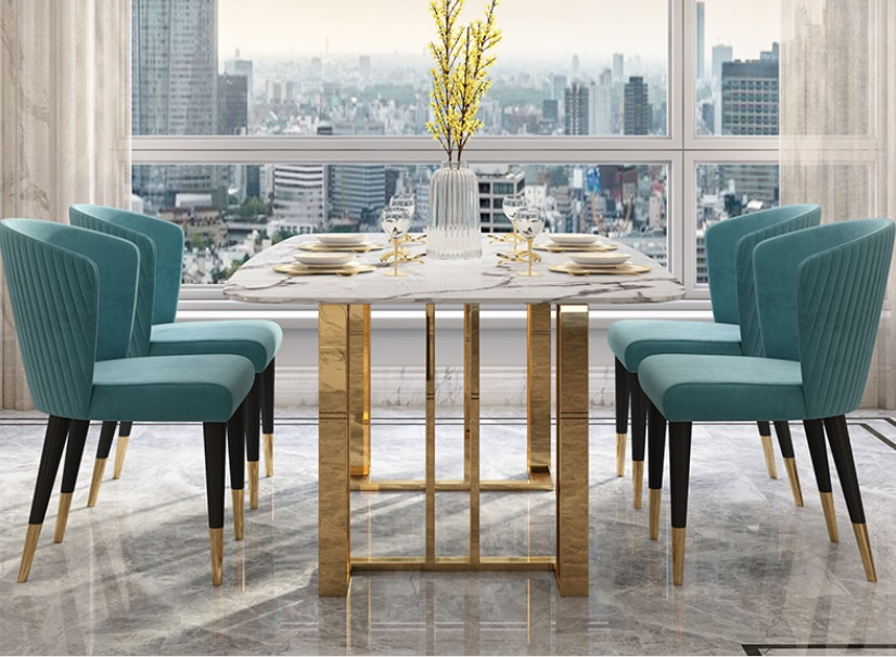 Modern luxury marble stone top Stainless steel leg dining tables sets Rectangular Italian style dining table and chairs