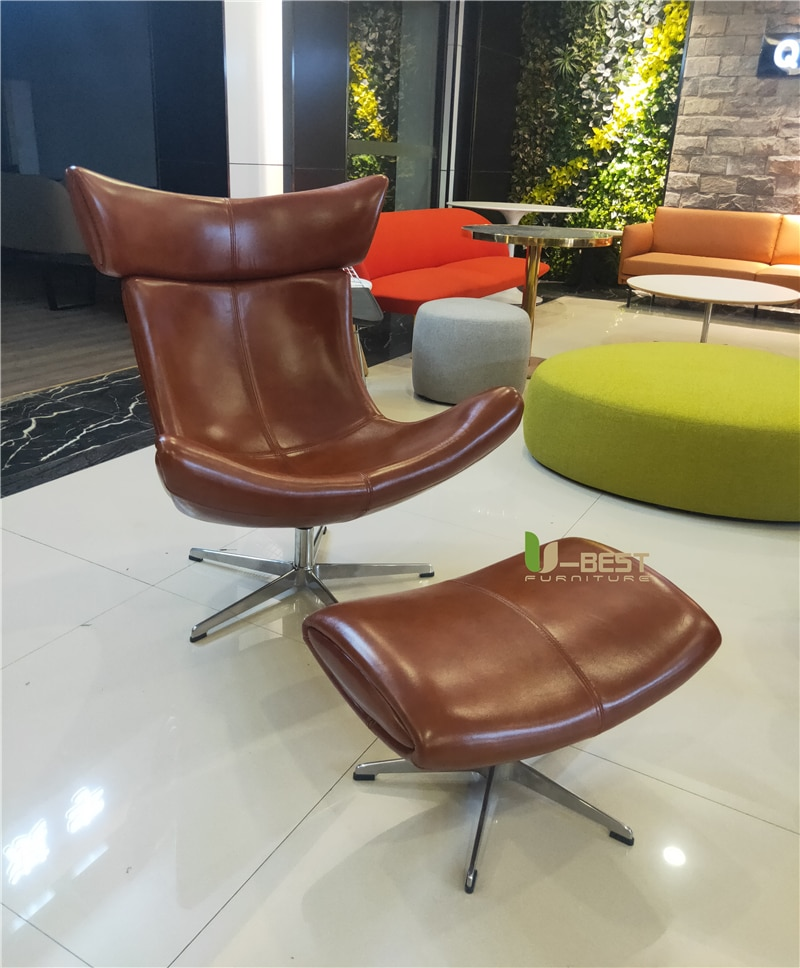 U-BEST Modern Noridic Designer Comfortable Relax High Backrest Leather Imola Metal Sofa Chair For Hotel living room