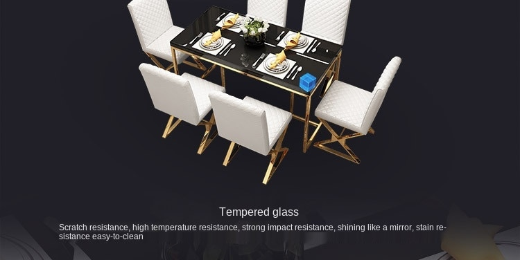 Stainless steel creative dining table and chair set modern minimalist nordic piano glass model room light luxury dining table