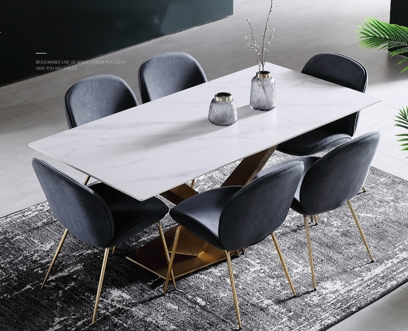 Italian Light Luxury Marble Dining Table European Nordic Small Apartment Combination Dining Table Chair Set