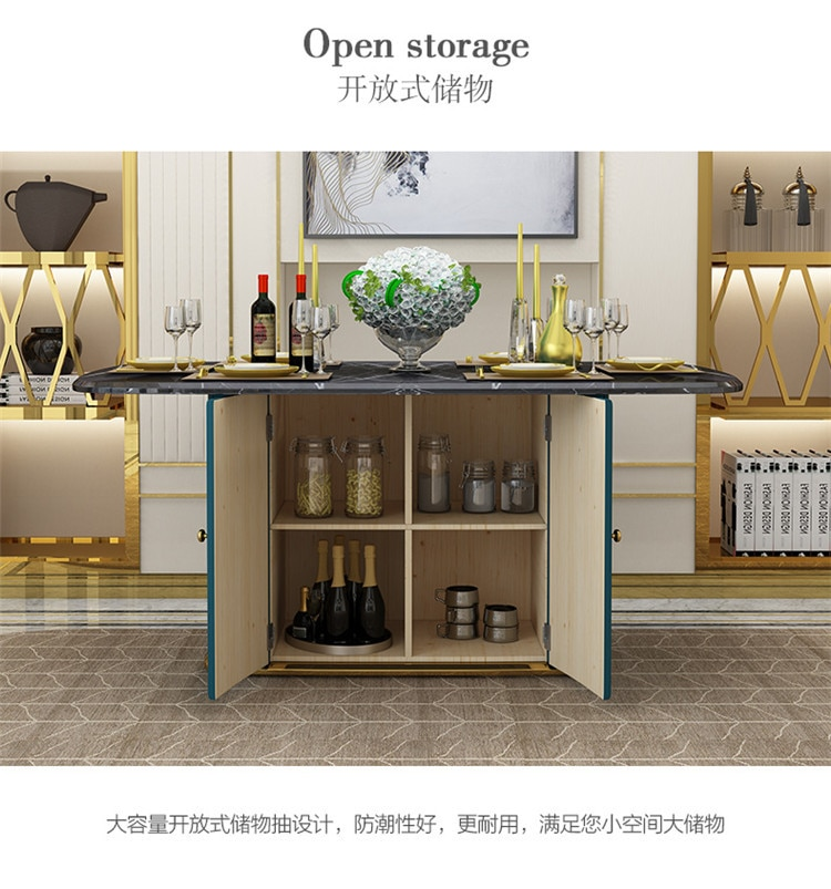 Post-modern light luxury stainless steel rectangular simple marble dining table and chair combination with storage