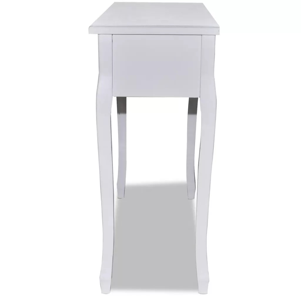 Simple Dressing Console Table with Three Smooth-rolling Drawers White Modern Compact Design Table forLiving Room/Dining Room