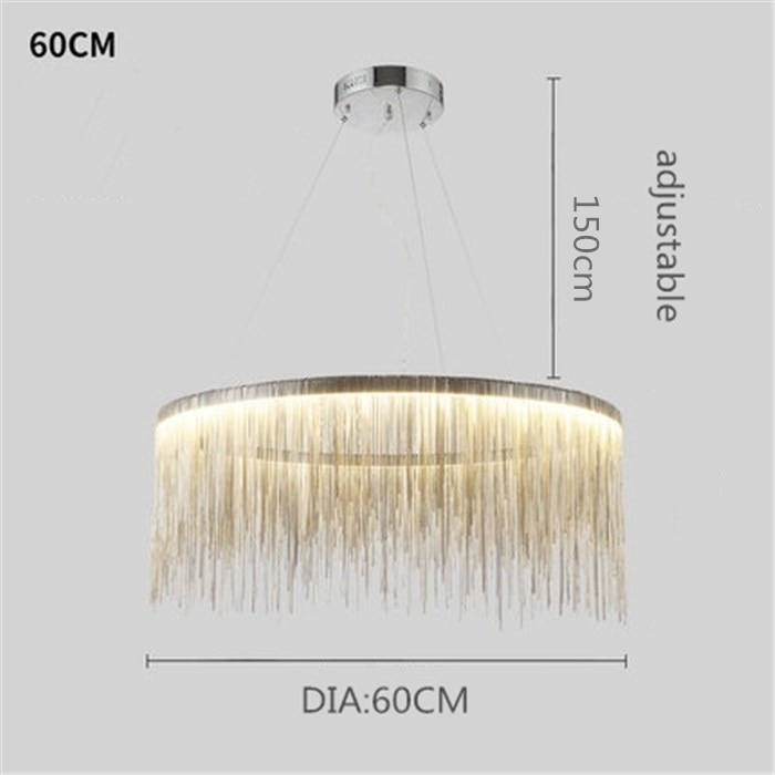 Postmodern Style Living Room Chain Chandelier Nordic Creative Bedroom Dining room Cloth Store Tassel Chain Light Fixtures