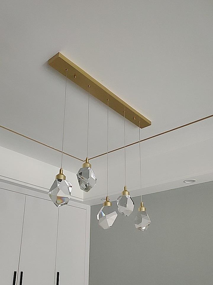 Nordic Crystal Pendant Lights Brass Long Diamond Living Dining Room Bedroom Bar Kitchen Indoor Decor LED Chandelier Fixtures