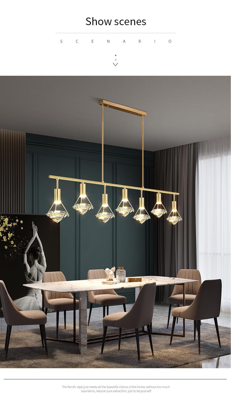 Modern Led Copper Crystal Pendant Lamp Golden Lustre Diamond Ceiling Hanging Light Decoration for Living Dining Room Fixtures