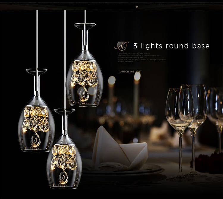 Modern Crystal Led Pendant Light Fixtures Glass Cup Lampshade Suspension Hanging Lamp Dining Room Kitchen Decor Home Lighting