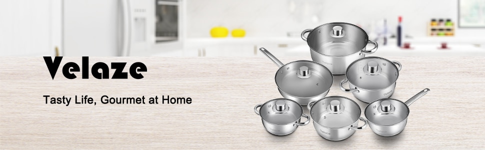 Velaze Cookware Set 12-Piece Kitchen Stainless Steel Cooking Pot & Pan Sets,Induction Safe,Saucepan,Casserole,pan with Glass lid
