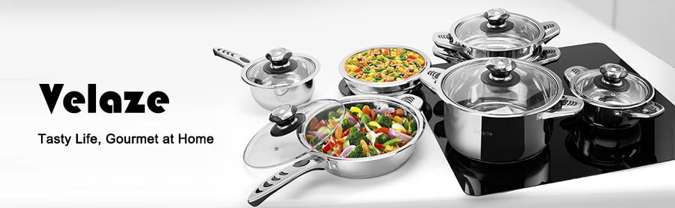 Velaze Cookware Set Stainless Steel 16-Piece Cooking Pot&Pan Set Induction Include Saucepan,Casserole,Salad Bowl,Steaming Insert