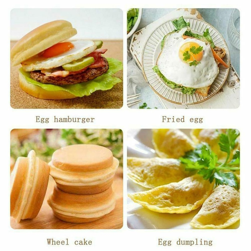 4 Hole Fried Egg Burger Pan Non-stick Ham Pancake Maker Wooden Handle Suitable For Gas Stove And Induction Cooker Kitchen Tools