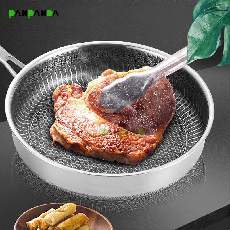 PANPANDA Stainless Steel Skillet Nonstick Fry Pan Induction Compatible Multipurpose Cookware Use for Home Kitchen or Restaurant