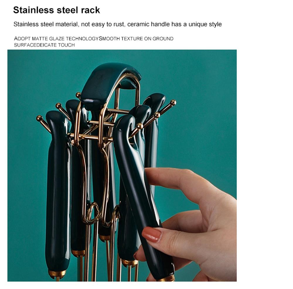 6/7PCS Stainless Steel Cooking Utensils Set Non-stick Spatula Shovel Dark Green Gold Dining Ceramic Kitchen Cookware Tool Sets
