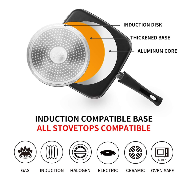 COOKER KING Nonstick Steak Frying Pan, Skillet, Grill Pan With Detachable Handle, Kitchen Utensils, Oven Safe Induction,26CM