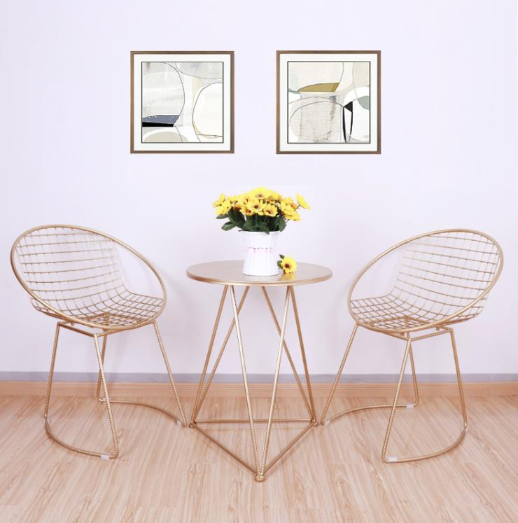 New Metal steel Leisure Chair iron wire chair hollow back gold black dining Coffee Metal Bar chairs Living Room Furniture