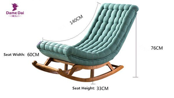 Modern Design Rocking Lounge Chair Fabric Upholstery and Wood For Home Furniture Living Room Adult Luxury Rocking Chair Chaise