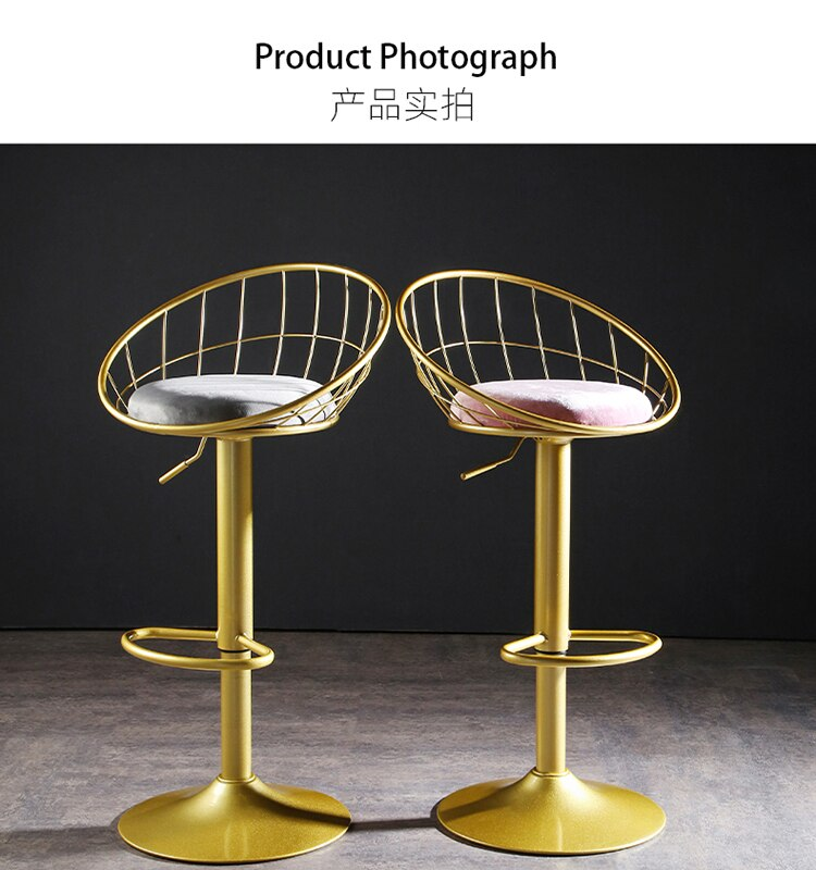 Meubles De Dining Nordic Chair Taburete Cocina Golden Checkout Counter High Stool Dining Chair Lifting Rotating Dining Furniture