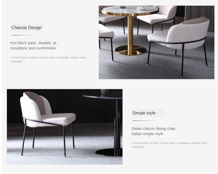 Luxury Dining Chair In Northern Europe Modern Simple Home Chair Iron Art In Hotel Cafe Backrest Chair Chairs For Bedroom