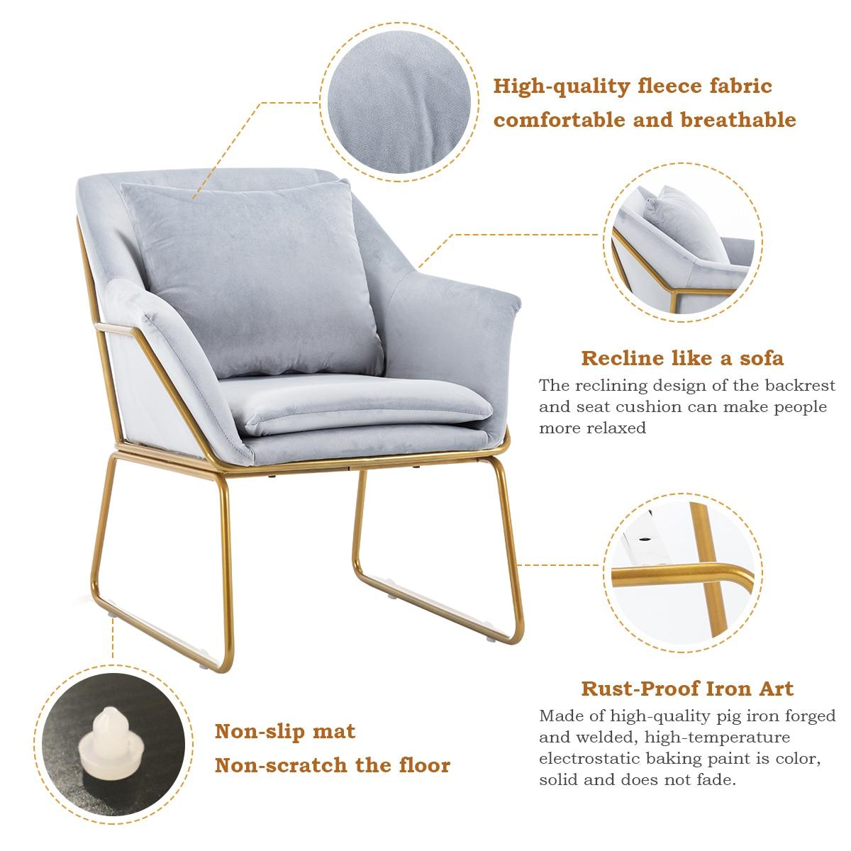 Light Luxury Single Sofa Northern Europe Modern Simple Clothing Store Sofa Living Room Balcony Bedroom Small Family Pink Sofa