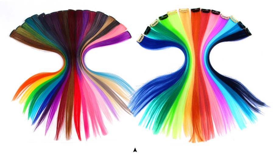 Leeons Clip-In One Piece For Ombre Hair Extensions Pure Color Straight Long Synthetic Hair Fake Hair Pieces Clip In 2 Tone Hair