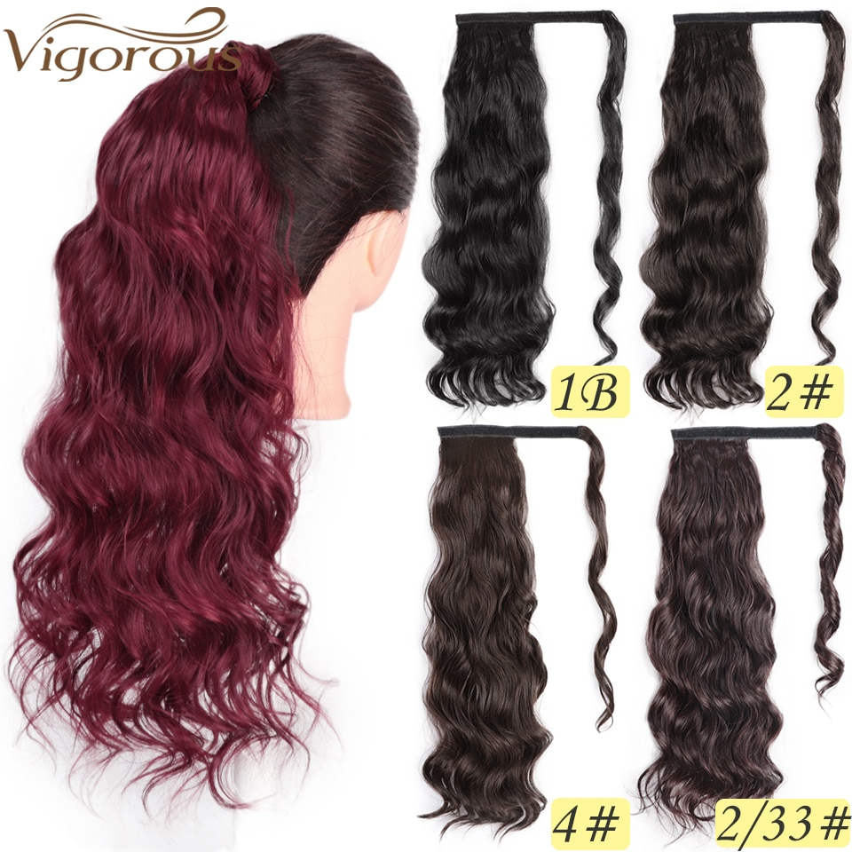 Vigorous Corn Wavy Long Ponytail Synthetic Hairpiece Wrap on Clip Hair Extensions Ombre Brown Pony Tail Blonde Fack Hair