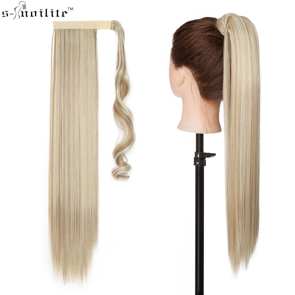 SNOILITE 17''23'' Long wavy Clip In Hair Tail False Hair Ponytail Hairpiece With Hairpins Synthetic Hair PonyTail Hair Extension
