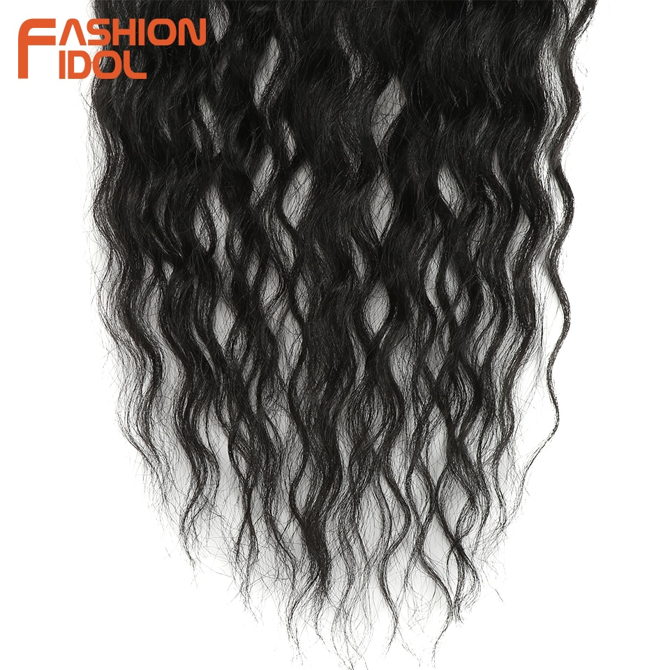 FASHION IDOL Water Wave Hair Bundles With Closure Synthetic Hair Extensions Ombre Blonde Silver Grey Hair 9Pcs/Pack 20inch Fiber