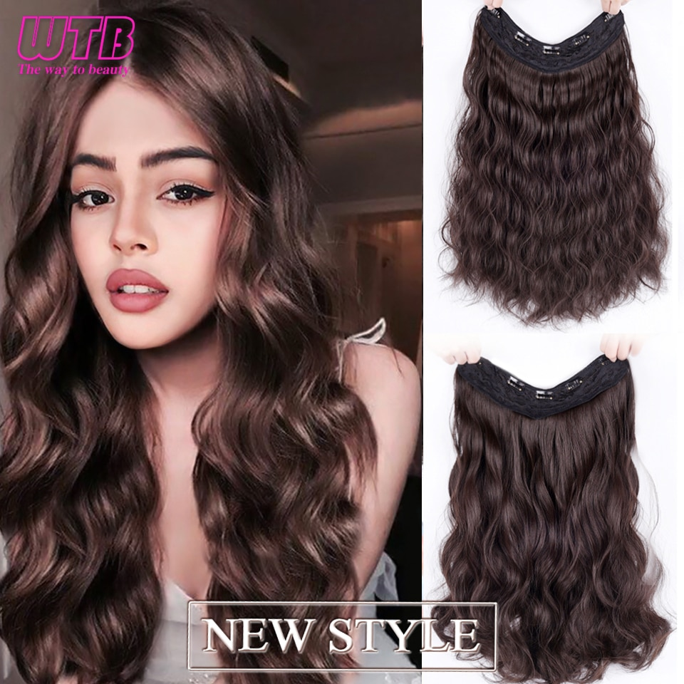 WTB Long Curly 5 Clips in One Piece Hair Extension Synthetic Natural Hair for Women Two Style Invisible Fluffy False Hair Piece