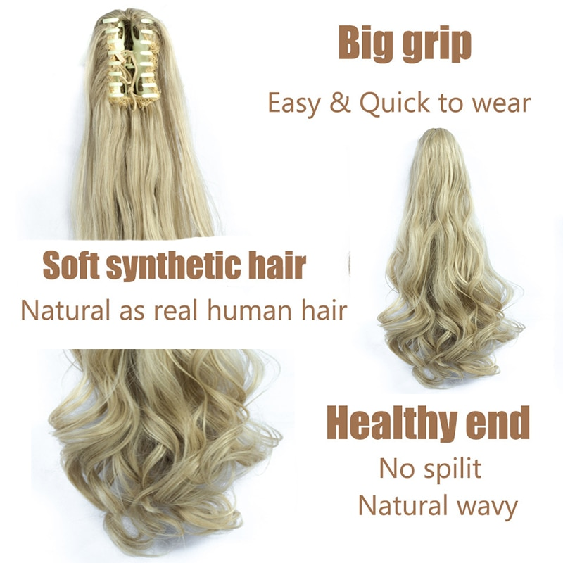 XINRAN Synthetic Fiber Claw Clip Wavy Ponytail Extensions Long Thick Wave Ponytail Extension  Clip In Hair Extensions For Women