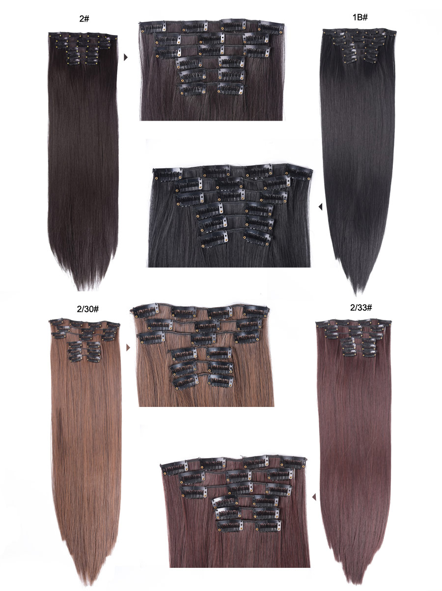 AliLeader Head 16 Clip In Hair Extension Long Straight Natural Black 6 Pcs/Set 16 Clips 22 Inch Synthetic Hair Piece For Women