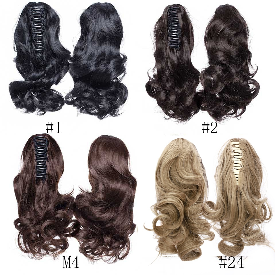 S-noilite Synthetic Short Wavy Ponytail Hair Extension Black Brown Pony Tail Claw Jaw In Hairpiece Clip In Hair Tail For Women