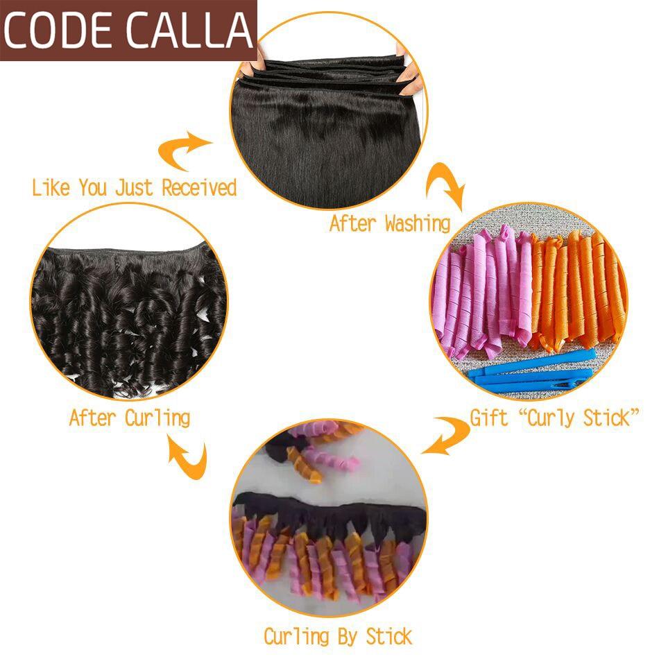 Bouncy Curly Hair Weave Bundles Code Calla Brazilian Funmi Curly Hair 100% Human Hair Extensions 1/3/4Pcs non remy Hair Bundles