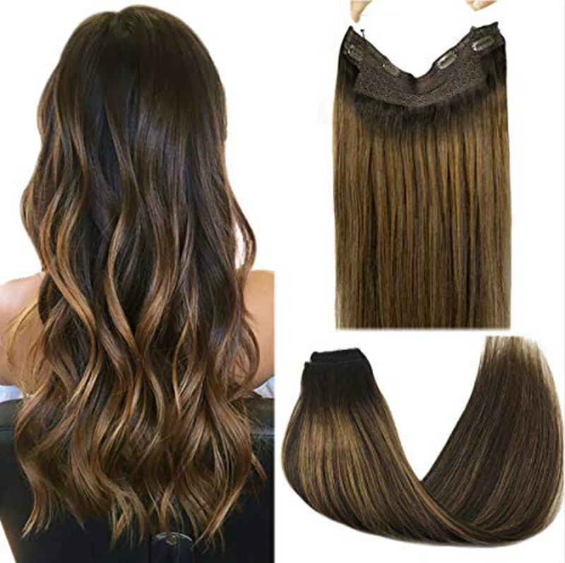 Straight Halo Hair Extensions Fish Line Human Hair Extension Invisible Hidden Wire Hair Extensions Ombre Blonde Golden Remy Hair