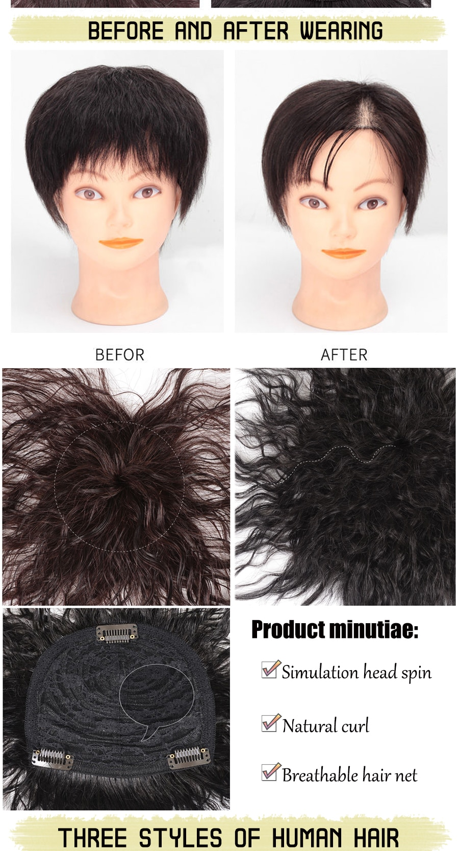 AILIADE Real Topper human hair Closure Clip Natural Black Brown for Women Hair Extensions hair pieces True invisibility wig
