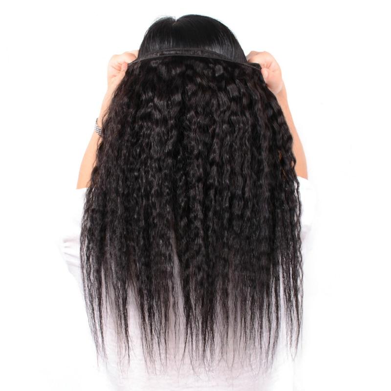 Yavida Hair Peruvian Kinky Straight Hair Bundles Human Hair Weave Bundles Natural Color Non-Remy Hair Weave Extensions Thick End